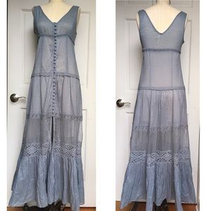 Free People Victoria Lace Button Front Slip Maxi